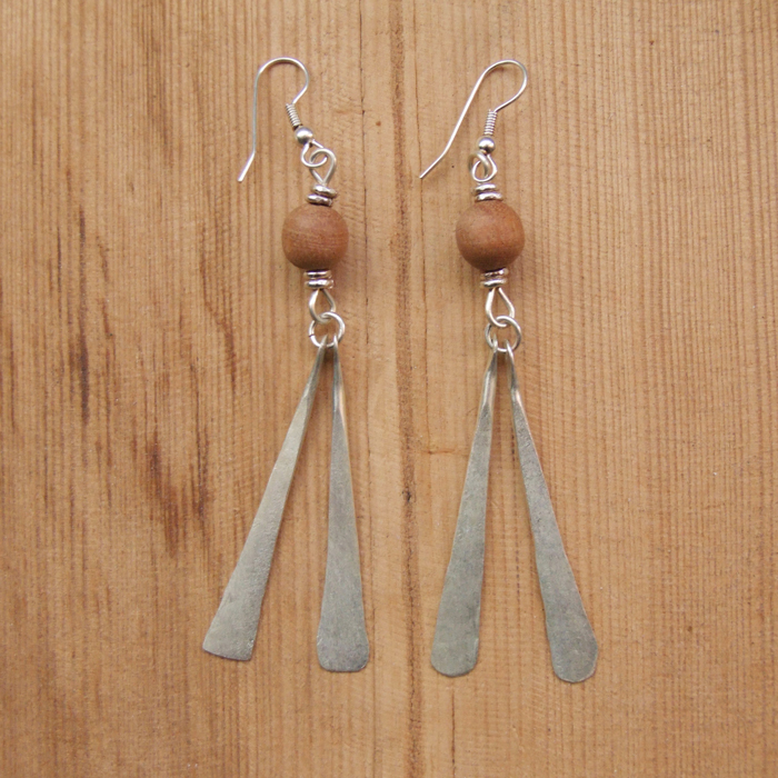 Silver plate petal + wood bead earrings JEMS26
