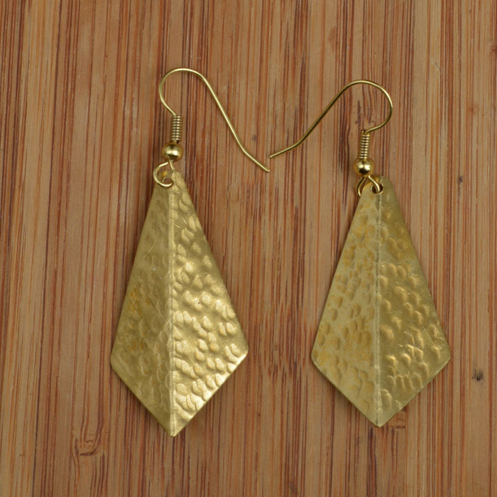 Fair Trade Brass 3D small triangle earrings JEBB9