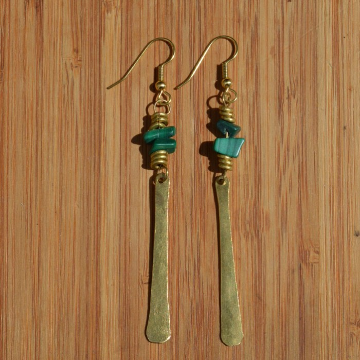 Fair Trade Brass and malachite chip long petal earrings JEMB45