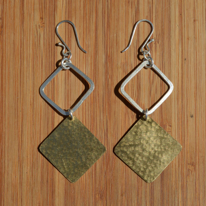 Fair Trade Brass and silver plate diamond earrings JEMBS1