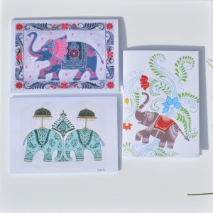 Fair Trade Cards Indian elephants – pack of three – CPie