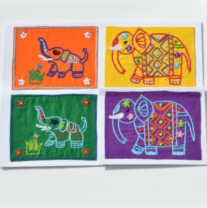 Fair Trade Cards embroidered elephant mixed – pack of four -CPeem
