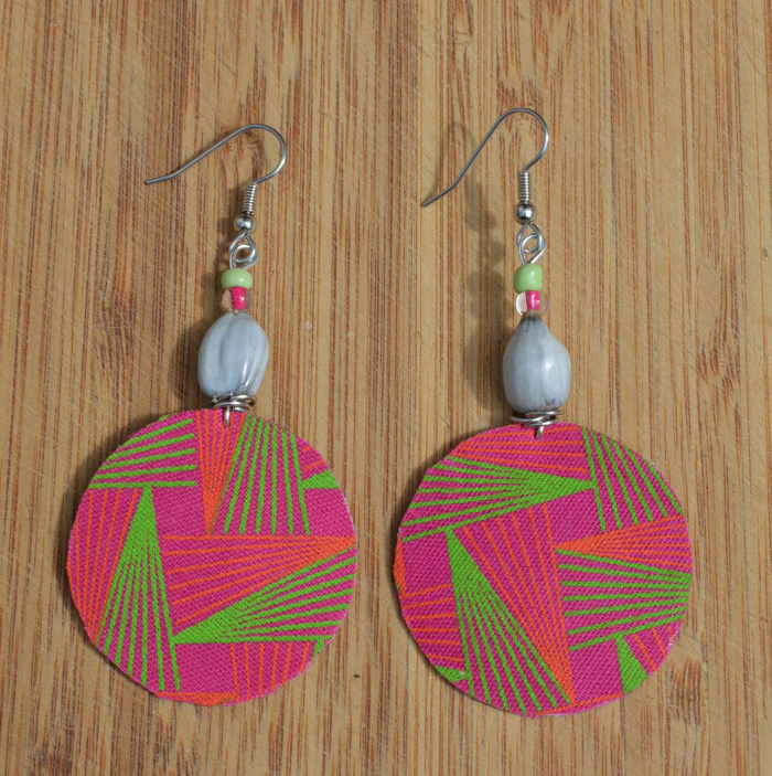 Fair Trade Fabric pink earrings JEFp