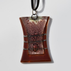 Fair Trade Glass pendant rhomboid brown waisted JNG13