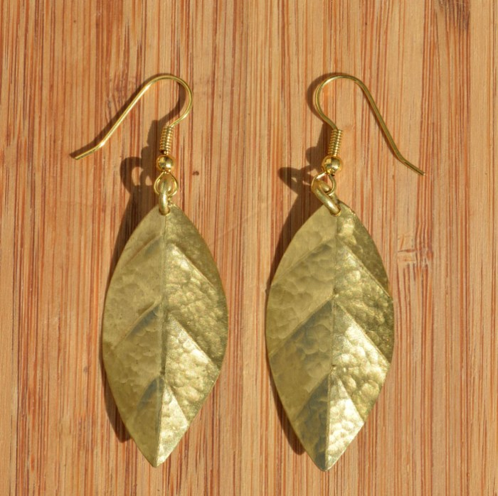 Fair Trade Brass medium veined leaf earrings JEMB15