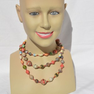 Fair Trade Recycled magazine bead necklace multi/reds JNRmr