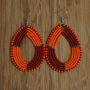 Fair Trade Oval, red, orange, black bead earrings JEBdrob