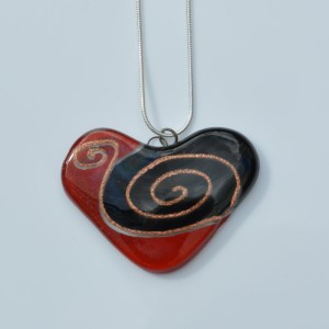 Fair Trade Glass pendant shaped heart red and black with gold detail JNG1