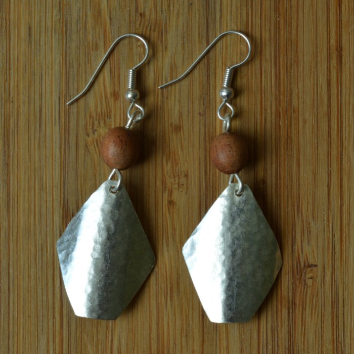 Fair Trade Silver plate soft triangle + wood bead earrings JEMS14