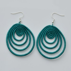 Fair Trade Sisal earrings – teardrop, teal  JEStte