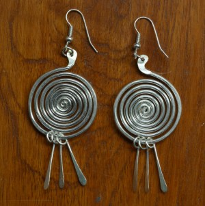 Fair Trade Silver plate spiral earrings JELS5