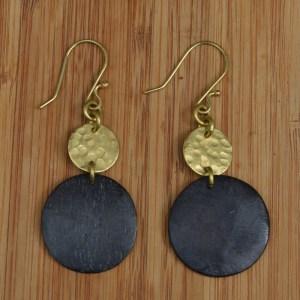 batik bone and brass earring