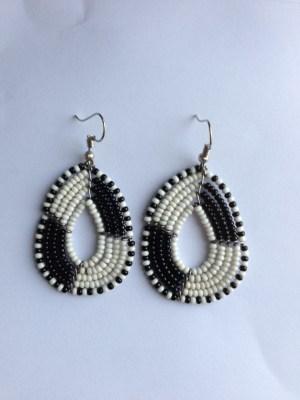 black and white medium bead earrings