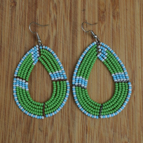 green, white, blue bead earrings