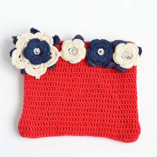 red crochet purse