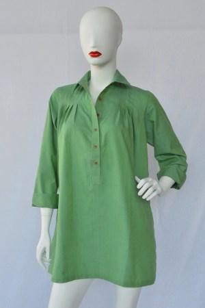 green pintuck blouse