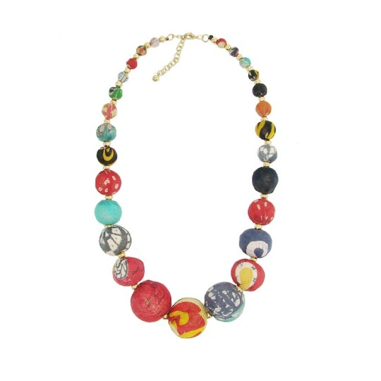 kantha bead graduated necklace