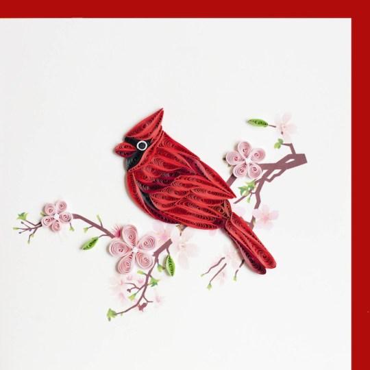 cardinal quilling card
