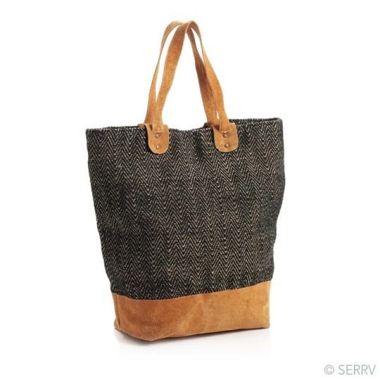 black herringbone leather tote