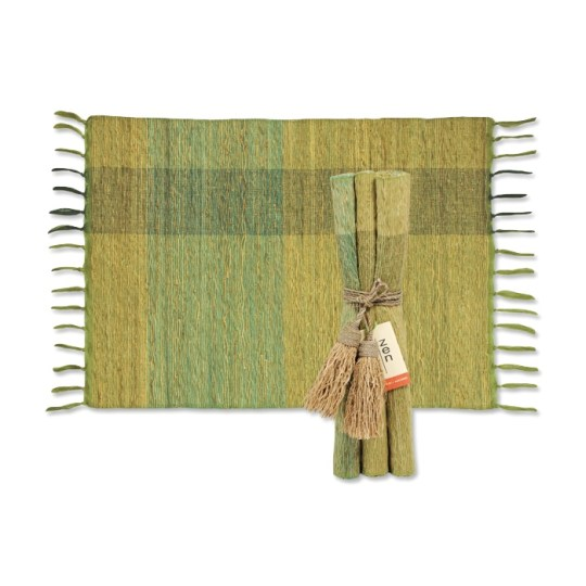 green blocks vetiver placemats