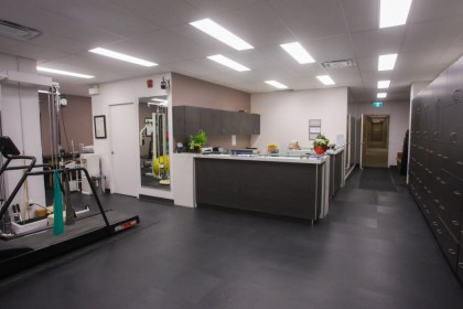 Fairview Physiotherapy and Rehab Centre reception book appointments, ask questions, or grab a snack.