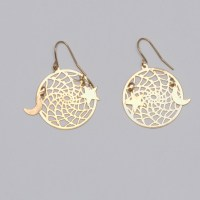 All Gold Dream Catcher with Moon & Star Earrings