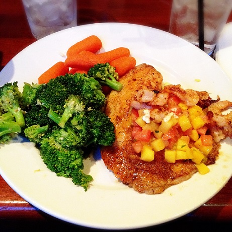 Grilled Tilapia with Mango Salsa & Steamed Vegetables! :]