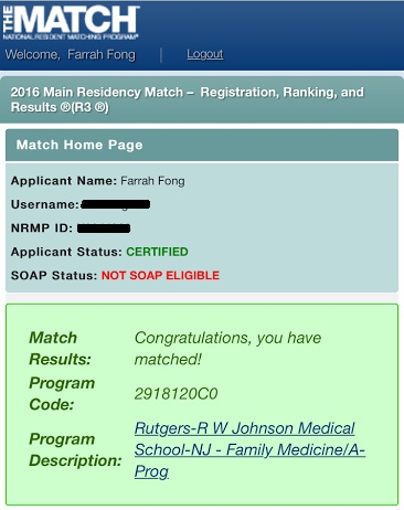 Residency Match Results