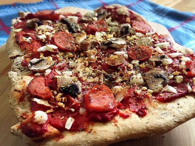 Turkey Sausage Mushroom Pizza with a sourdough crust!