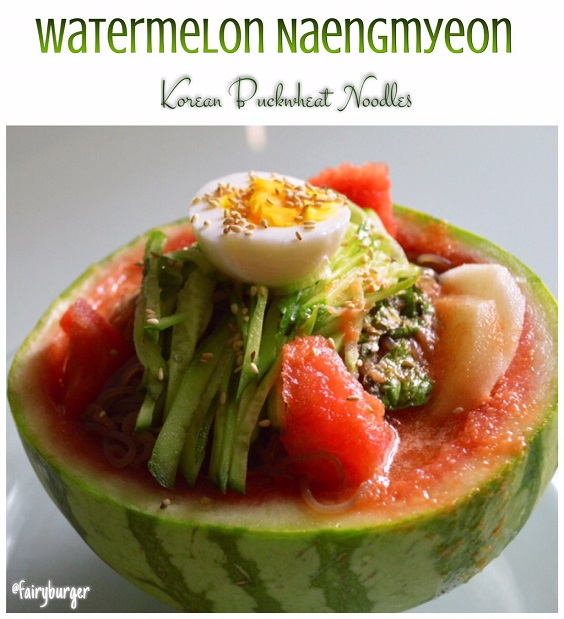 Watermelon Naengmeyon (Korean Buckwheat Cold Noodles) | @fairyburger