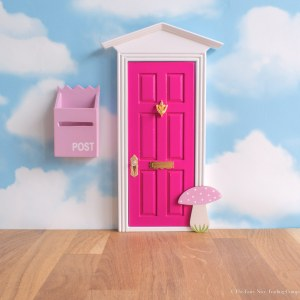 Bright Pink Fairy Door with toadstool UK