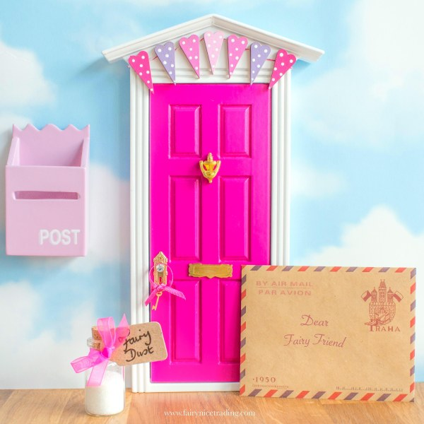 Personalised pink Fairy door with bunting uk