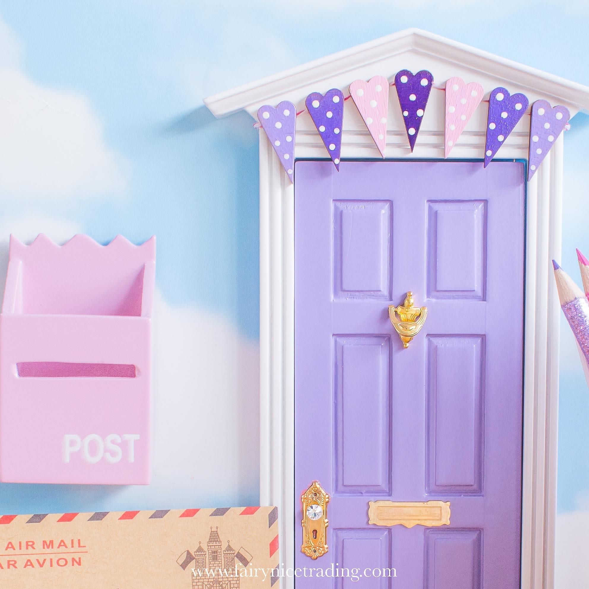 purple fairy door with bunting uk