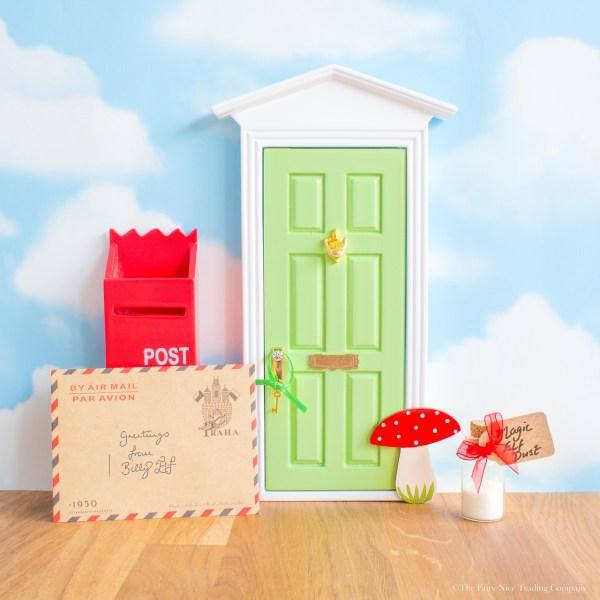 green magic elf door with toadstool