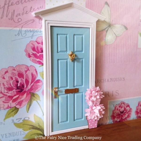 Blue Fairy Door with flowerpot UK