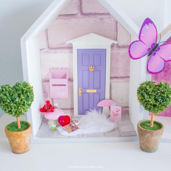 purple fairy door with toadstool