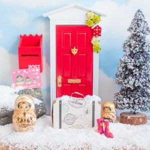red fairy door for christmas