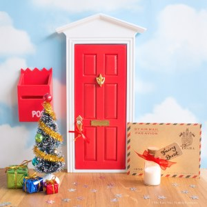 Personalised Christmas Fairy Door set in red UK
