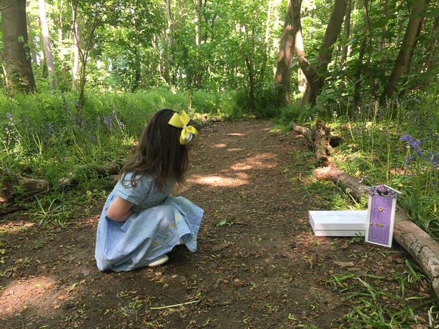 sienna found a fairy door in the woods