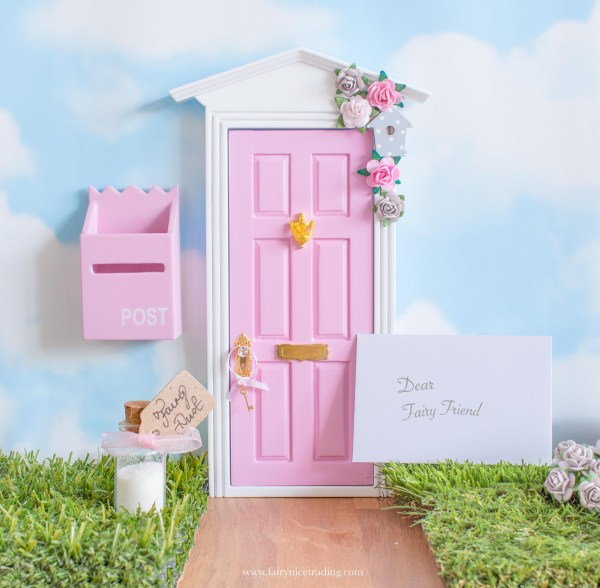 pink and grey fairy door
