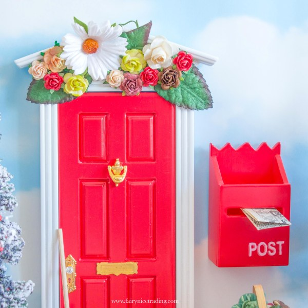 red fairy door with flower wall uk