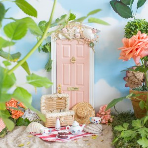 mermaid fairy door in blush pink