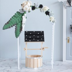 black and white fairy wishing well set