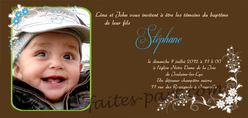 carte d invitation pour bapteme