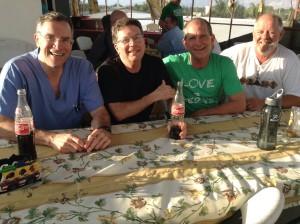 Steve, Steve, Jim and Danny relaxing before supper.