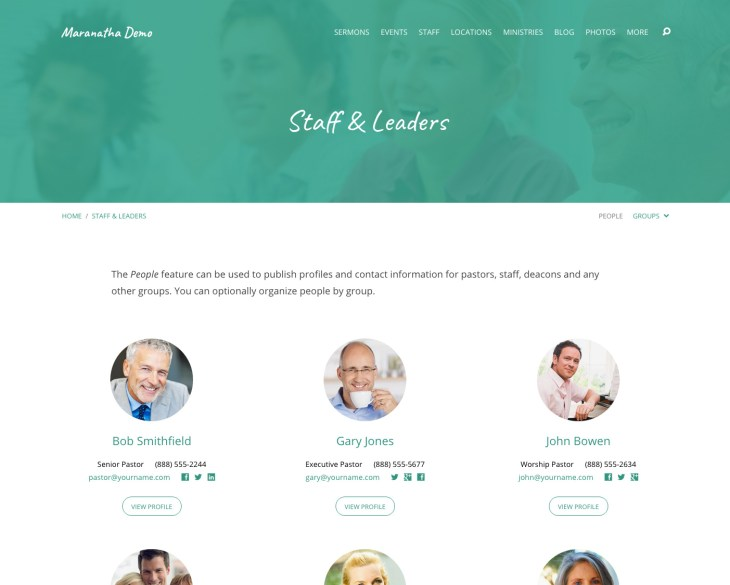 Custom Staff Pages for Your Leadership Teams