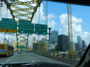 Pittsburgh skyline through Pitt Bridge