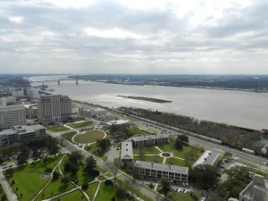 view of MS river from atop LA state capitol