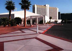 The Shrine of the Holy Redeemer set against the backdrop of a Los Vegas Hotel.