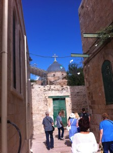 """""""We came up the Via Dolorosa, singing."""" On Sunday morning in old Jerusalem, the famous pilgrims' street to the Church of the Holy Sepulcher was still empty."""